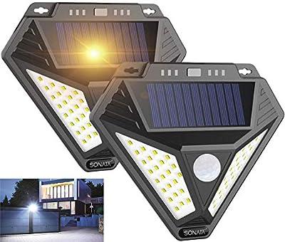 Solar Lights Outdoor, SONATA 2020 Upgraded Solar Motion Sensor Light with Alarm Function (2pack)