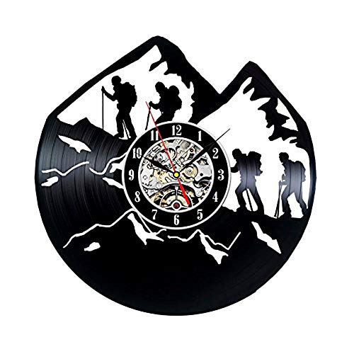 wtnhz LED Reloj de Pared de Vinilo Colorido Disco de Vinilo Reloj de Pared diseño Moderno Deportes al Aire Libre Tema Escalada en Roca montaña decoración 3D Reloj de Pared Reloj de Pared decoració