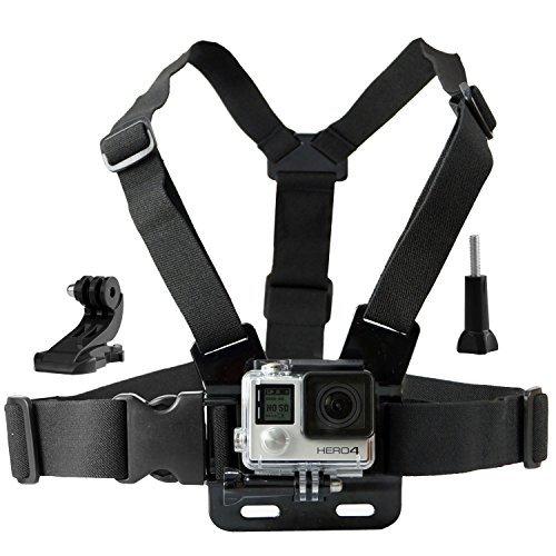 CamKix Einstellbarer Brustgurt Halterung kompatibel mit GoPro Hero5, Hero4, Hero3 +, Hero3, Hero2 und Hero Kamera - Ebenfalls enthalten: 1x J-Haken, 1x Stativschraube, 1x CamKix Kordelzugtasche