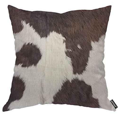 AOYEGO Kuhfell-Kissenbezug mit Kuhfell-Effekt, flauschig, Rinder-behaar, natürlicher Block, gepunktet, Wildtier-Kissenbezug, 45,7 x 45,7 cm, dekorativer Kissenbezug für Zuhause, Couch, Bett