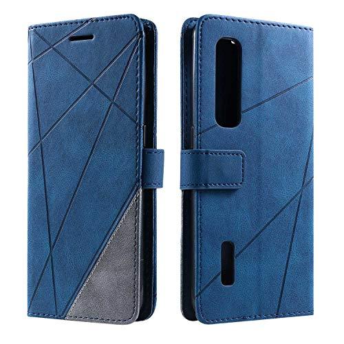 Hülle für Oppo Find X2 Pro, SONWO Premium Leder PU Handyhülle Flip Hülle Wallet Silikon Bumper Schutzhülle Klapphülle für Oppo Find X2 Pro, Blau