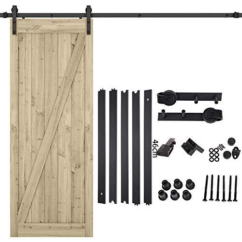 Kit de rieles para puertas corredizas - Kit de rieles para puertas de granero - Kit de herrajes para puertas colgantes de madera industrial con rodillos y rieles para puertas corredizas (2.3m)