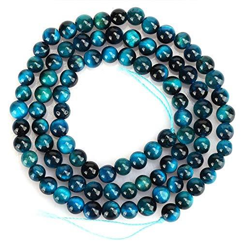 Deror Cuentas Redondas de Ojo de Tigre de Piedra Natural Azul, Accesorio de fabricación de Pulseras de joyería DIY(4mm【92颗/串】)