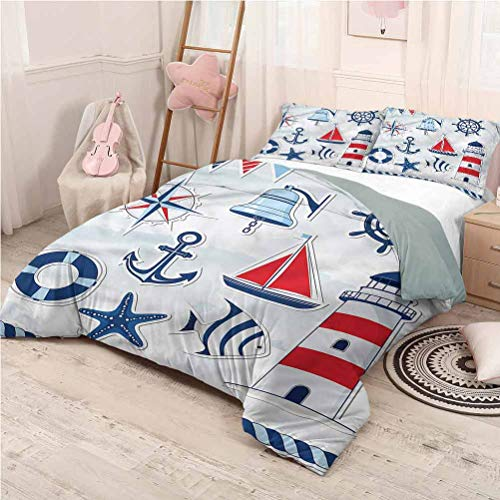 Nautical Bedding Sets Full, Microfiber Sheet Set 3 Piece Bed Sheets Summertime Theme Icons Hotel Bedding - Full 80'x90'