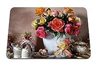 26cmx21cm マウスパッド (バラ花ブーケ花瓶磁器弓) パターンカスタムの マウスパッド