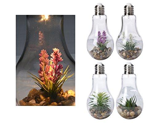 4x LED Glühbirne mit Deko - 23 x 11 cm - Glas Glühlampe Tisch Leuchte Licht Lampe Tischlampe