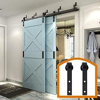 ZEKOO Rustic 5FT Stanley by-Pass Barn Door Hardware Max Modern Flat Track for Double Wooden Doors Hanger Parts