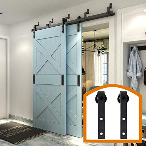 ZEKOO Rustic 5-16 FT Bypass Barn Door Hardware Powder Tcbunny Sliding Steel Track for Double Wooden Doors (10FT Bypass System)