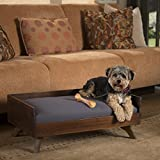 Darren Mid-Century Acacia Wood Dog Bed with Water Resistant Cushion