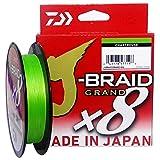 Daiwa J-Braid Grand X8E 0,24 mm, 22,0 kg, 270 m, Chartreuse, línea de pesca trenzada, 127697-124