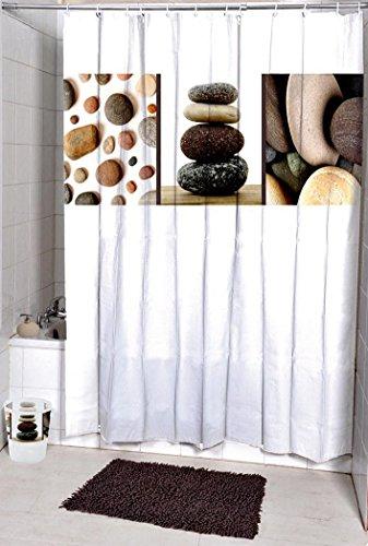 LAundNA 72 (h) Polyester-Gewebe-Badezimmer-Duschvorhang-Set mit Haken ImprŠgniern Sie Und Schimmel-bestŠndig(w) x 79