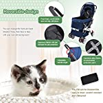 IREENUO Pet Trolley Cart, 4 Wheels Foldable Pram for Cat Dog, 360° Rotation Front Wheel Pet Travel Stroller, Quick Folding, Max Loading 30kg - Blue 12
