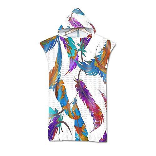 AGAGRG Erwachsene Poncho Kapuze,Farbige Federn drucken Kapuze Poncho Mikrofaser Quick Dry Robe Handtuch Unisex Poncho Decke für Strand Surfing Schwimmen Bad Neoprenanzug Wechseln
