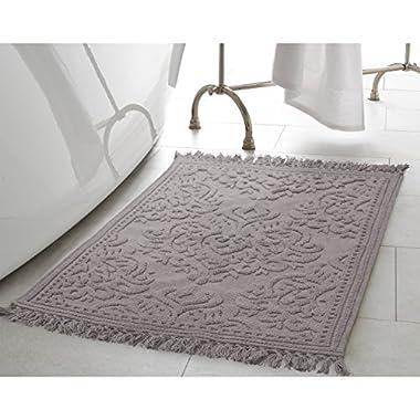 Jean Pierre New York Ricardo Cotton Fringe 17x24/21x34 in. 2-Piece Bath Rug Set, Dark Grey