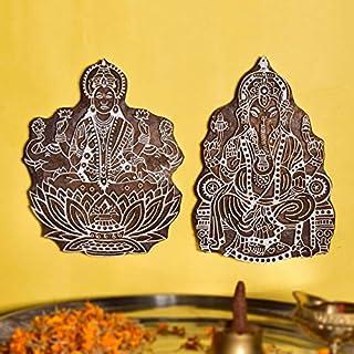 Hashcart Laxmi Ganesh Wooden Printing Stamp Block Hand-Carved - Set of 2