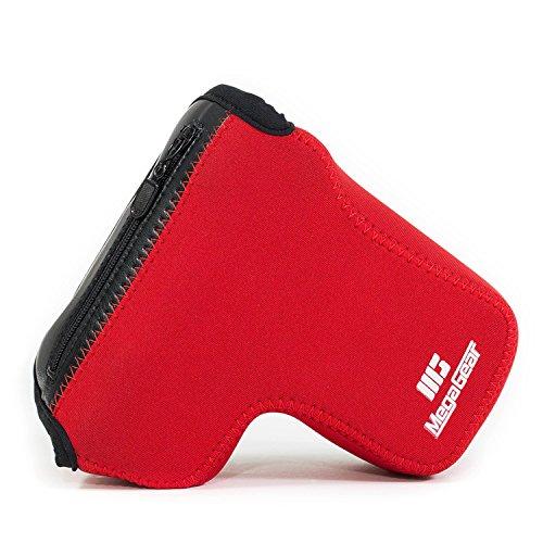 MegaGear MG1503 Sony Alpha A6400, A6500 (16-70, 18-135 mm) Estuche Ever Ready, Funda de cuero, de pronto uso, con correa – Rojo