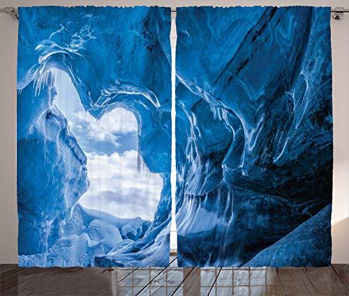 SPXUBZ Cortinas de cuevas naturales, heladas glaciares congeladas en Islandia con formas extrañas naturales, cortinas de ventana azul, 2 paneles para dormitorio sala de estar (cada panel 46 x 54 L)
