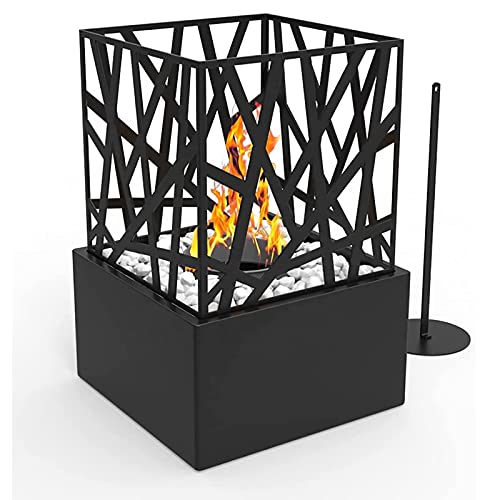 ZLRE Freestanding Tabletop Bio Ethanol Fire Pit Fireplace Portable Square Firebox Burner Heater Suitable for Indoor and Outdoor Use