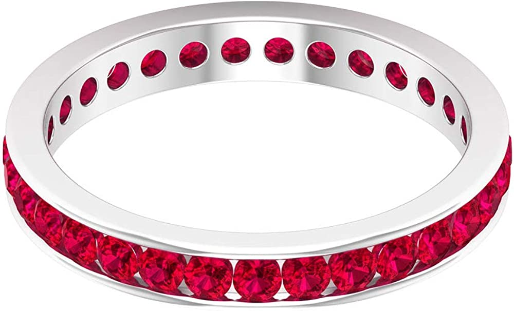 1.55 Ct Certified 2mm Ruby Gold Statement Ring, Unique Gemstone Bridal Eternity Ring, Wedding Band Ring For Her, Antique Anniversary Promise Ring, 14K Gold