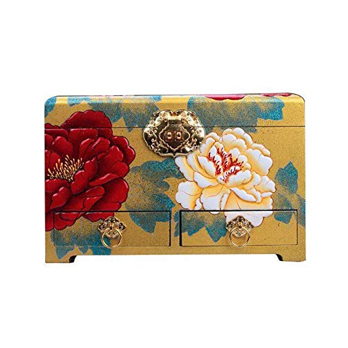 HAIHF Schmuckschatulle, Pingyao Push-Lack-Schmuckschatulle, Vintage Schmuckschatulle Schmuckschatulle verzierten antiken zwei-Layer-Organizer-Box für exquisite Geschenk (gelb)