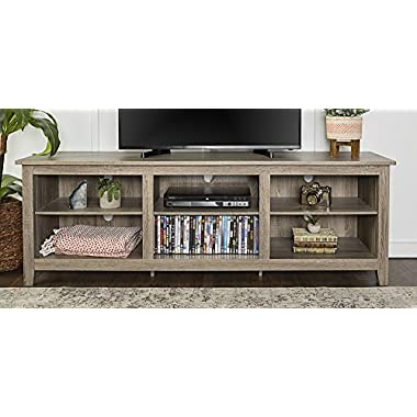 WE Furniture 70  Wood Media TV Stand Storage Console, Driftwood