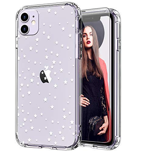 ICEDIO iPhone 11 Case with Screen Protector,Clear TPU Cover with Floral Flower Patterns for Girls Women,Shockproof Slim Fit Protective Phone Case for Apple iPhone 11 6.1 inch Twinkle Stars