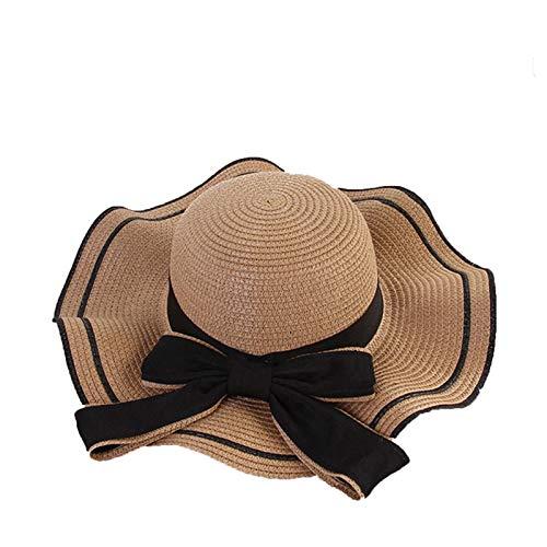 BUYYUB Sombrilla de playa, transpirable, borde ondulado, se puede plegar para cuidar de las niñas de verano, sombrero de paja (color: caqui)