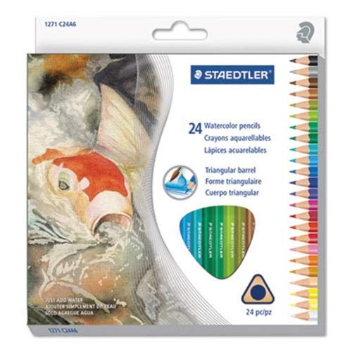 Staedtler Triangular Watercolor Pencil Set, 24 Assorted Colors (STD1271C24A6)