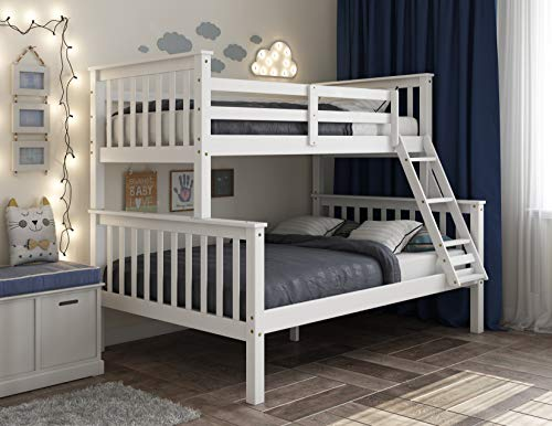 Palace Imports 100% Solid Wood Mission Twin Over Full Bunk Bed 4141, White