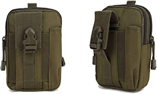 Outdoor Multipurpose Military Tactical Molle Waist Belt Bag with Cell Phone Holster Holder (Army Green)