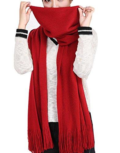 Wander Agio Women's Wraps Warm Long Scarves Winter Scarfs Pure Color Scarf Tassel Wine Red