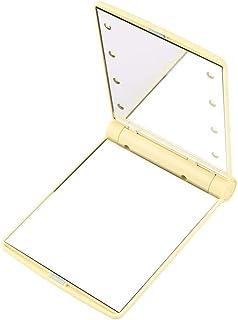 ミラー化粧鏡、ライトミラー付きガールハートポータブル化粧鏡小型LED化粧鏡テーブルランプミラー、あらゆる照明用LEDライト,Gold