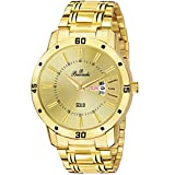 Buccachi Golden Dial Day & Date Functioning Water Resistant Gold Color Stainless Steel