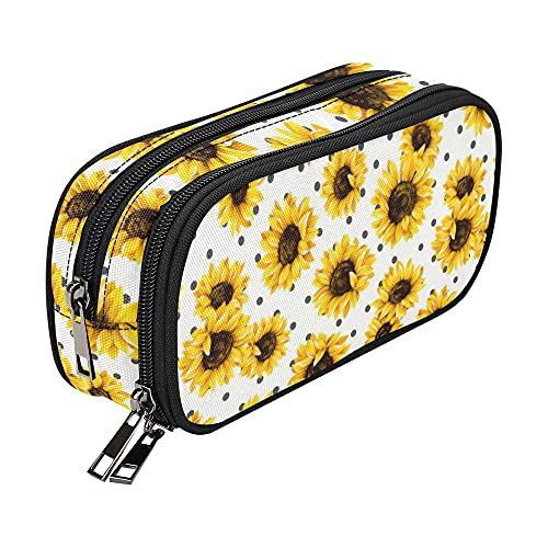 Large Capacity Floral Sunflowers Pencil Case for Teen Girls Boys Kids, Small Makeup Bag for Women Adults, School Supply Accessory Zipper Pouch, Office Organizer Crayon Box Soft Sun Flower Marker