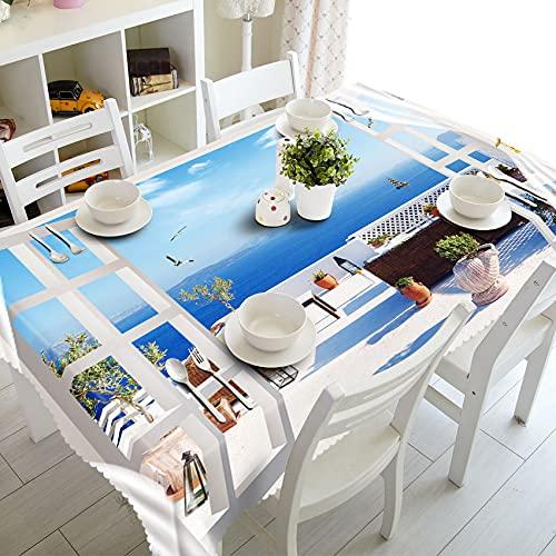 XXDD Textiles para el hogar Mantel 3D Beach Resort Paisaje Patrón Rectangular Cubierta de Mesa Mantel de Boda A7 140x160cm