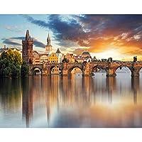 xueshao カスタム壁紙3D写真壁画美しいヨーロッパ建築背景壁ウォーターフロント都市景観3D壁紙-400X280Cm