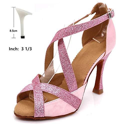 HOAPL vrouwen in de kleur Pink Ballo Latin schoenen van Tango Samba Dance Strass schoenen