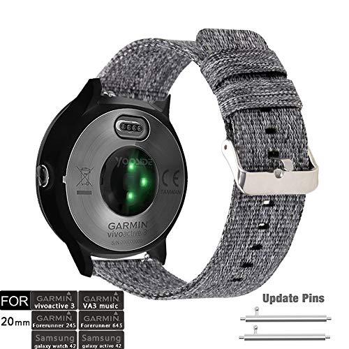 YOOSIDE für Vivoactive 3 Armband,20mm Gewebtes Nylon Comfortable Ersatzarmband Uhrenarmband für Garmin Vivoactive 3/Vívoactive 3 Music,Samsung Galaxy Watch 42mm (Grau)