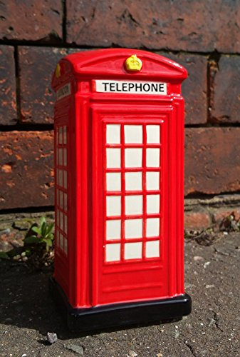Salvadanaio a forma di cabina telefonica, colore: rosso inglese Ceramic. dipinta a mano, motivo: cabina telefonica di Londra