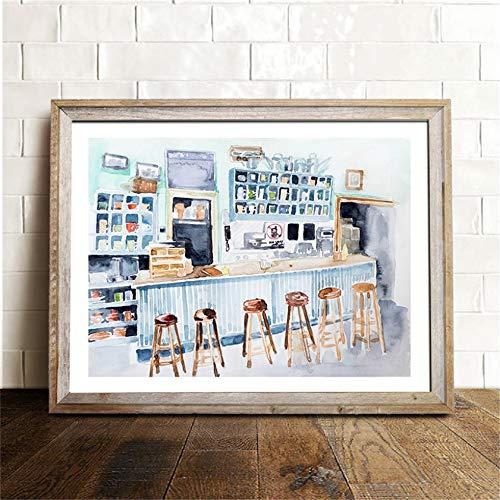 Danjiao In Omnia Paratus Druckt Gilmore Girls Tv Show Poster Aquarell Lukes Diner Interior Print Leinwand Gemälde Wand Kunst Dekor Wohnzimmer 60x90cm