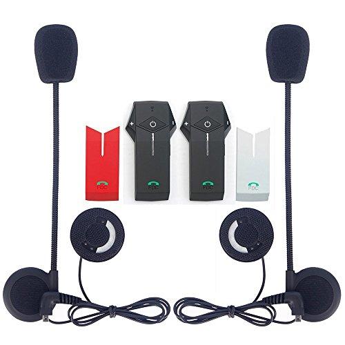 EuroFone Casque de Moto Communication Systems Colo Intercom de Casque Bluetooth pour Moto Ski (NFC/Mains libres/Range-1000 m/2–3riders Couplage/Noir et Rouge et Argent Shell/Lot de 2)