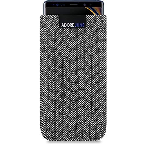 Adore June Business Tasche für Samsung Galaxy Note 9 Handytasche aus charakteristischem Fischgrat Stoff - Grau/Schwarz | Schutztasche Zubehör mit Bildschirm Reinigungs-Effekt | Made in Europe