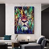 Imprimir en Lienzo Arte Abstracto de la Pared de la Lona del león para la decoración casera de la Pared,50x75cm,Pintura sin Marco