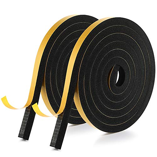 Foam Insulation Tape, Window Door Weather Stripping Seal Strip, Self Adhesive, Soundproofing Air Conditioning Seal Strip (1/2'' x 2/5
