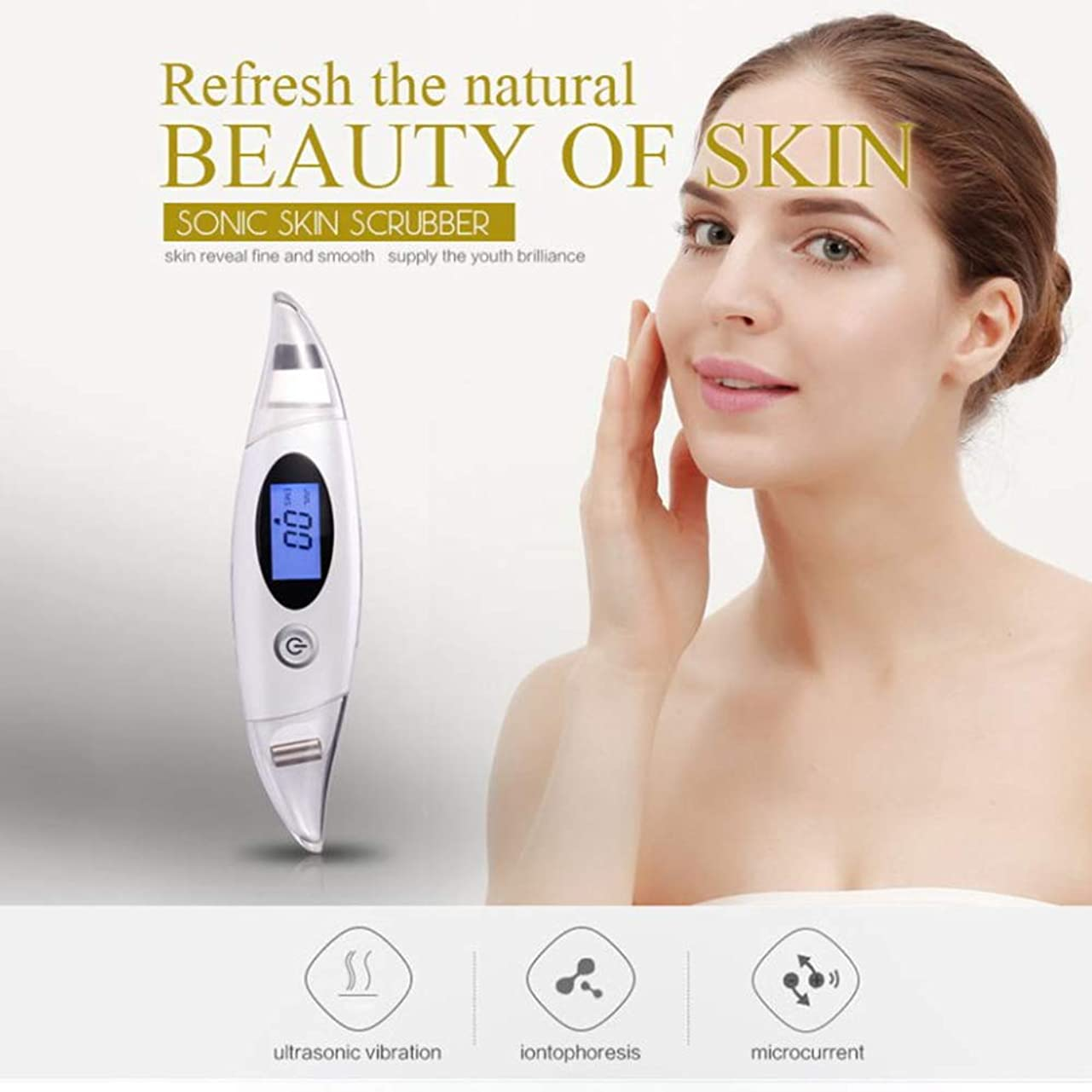はぁブローホール市長しわ除去Rf美容デバイス、顔のクレンジング、リフティング&引き締めデバイス、ディープクレンジング振動美容ツールをきつく締めるフェイスリフティングスキン