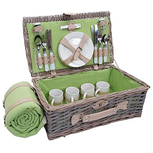 Mendler Picknickkorb-Set HWC-B24 für 4 Personen, Weiden-Korb, Porzellan Edelstahl - grau-grün