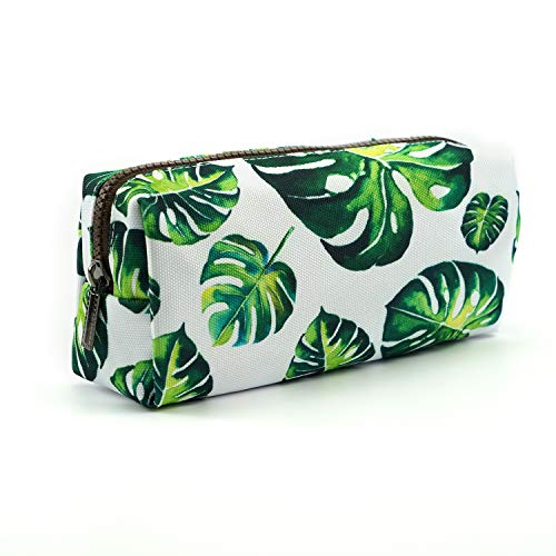 LParkin Tree Leaves Large Capacity Canvas Pencil Case Pen Bag Pouch Stationary Case Makeup Cosmetic Bag Gadget Box