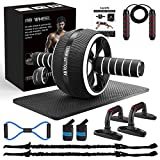 Ab Roller Wheel, 10-In-1 Ab Wheel Roller Kit with Resistance Bands, Knee Mat, Jump Rope, Push-Up Bar - Home Gym Equipment for Men Women Core Strength & Abdominal Exercise Workout (Black)