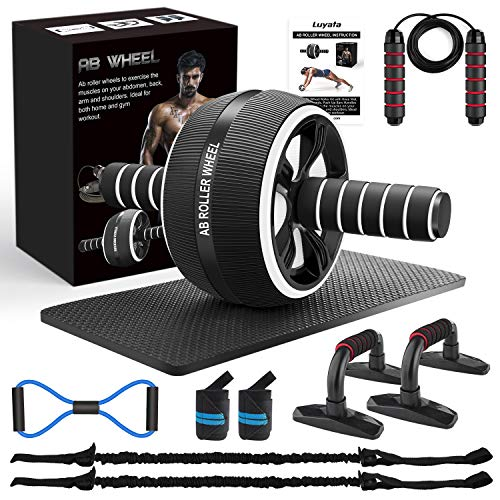 LUYATA Ab Roller Wheel, 10 Pcs Ab Wheel Roller Kit with Resistance Bands, Knee Mat, Jump Rope, Push-Up Bar for Home Gym Core Strength & Abdominal Trainers Exercise Workout Equipment