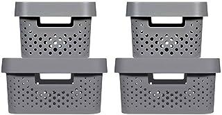 CURVER | 4 Bacs de rangement Infinity 2x(4,5L+11L) + couvercles , Gris anthracite , Plastique recyclé